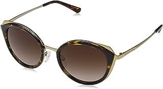 نظارة شمسية شارلستون للنساء بلون ذهبي فاتح لماع وبني داكن متدرج من مايكل كورس، موديل 116813 52