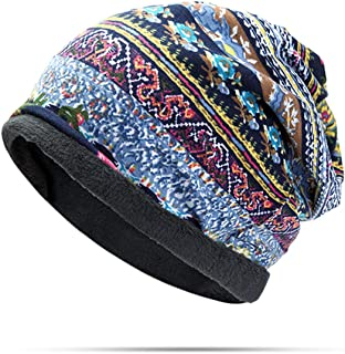 Tezoo Skullies Beanies, Women Cotton Stripe Print Beanie Hat Outdoor Casual Multi Function Cap for Hats and Scarf Use