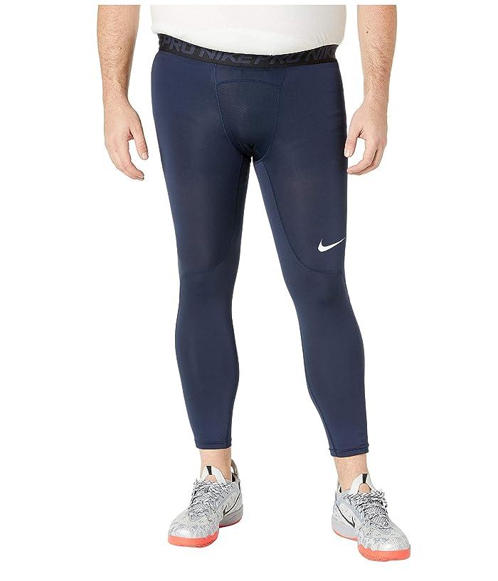 Nike Big Tall Pro 3/4 Tights (Obsidian/White/White) Men