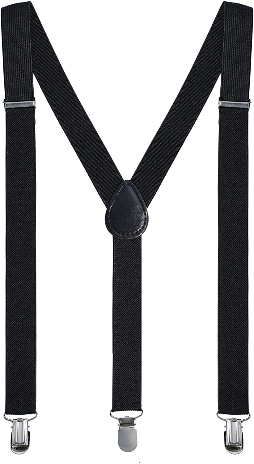 Leadtex Suspenders for Adult Y Shape with Strong Metal Clips Adjustable Elastic Braces Y Style One Size Fits All Wide.
