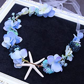 Bridal Beach Starfish Fruit Floral Crown Headband Flower Wreath Women Girls Mermaid Costume Accessories Wedding Flower Garland Hairband (blue)