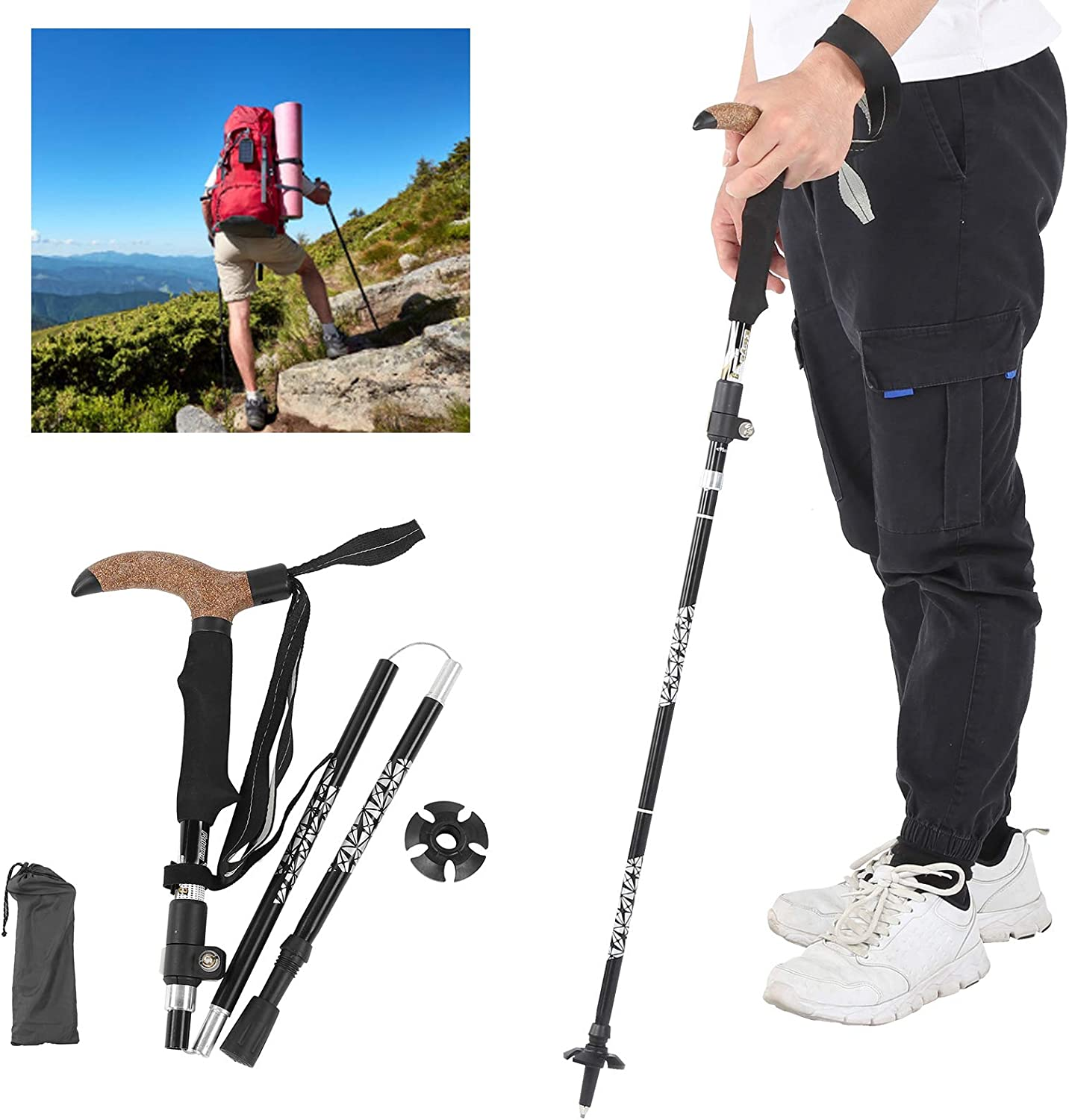 01 Popular overseas Hiking Poles T Handle Metal Hiki Walking Portable for Max 62% OFF Stick
