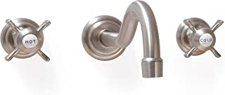 SITGES Wall Faucet,Two Handle Bathroom Sink Wall Mount Faucet with Rough in Valve included,Brushed Nickel