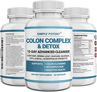 Simply Potent Colon Cleanser & Detox for Weight Loss, Colon Cleanse Supplement with Probiotic, Laxatives, MCT Oil & Fibers...