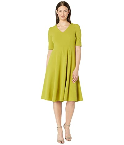 Donna Morgan V-Neck Fit and Flare Crepe Dress (Citrus) Women