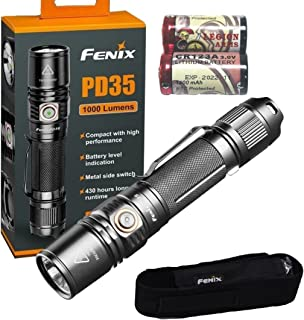 Fenix PD35 V2.0 LED Flashlight 1000 Lumens PD35V2 2018 edition with Holster, Lanyard and 2x LegionArms CR123A Batteries