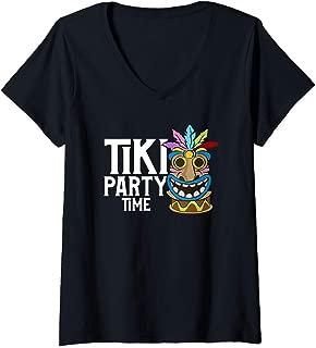 Womens Adorable & Cute Tiki Party Time Island Luau Themed V-Neck T-Shirt