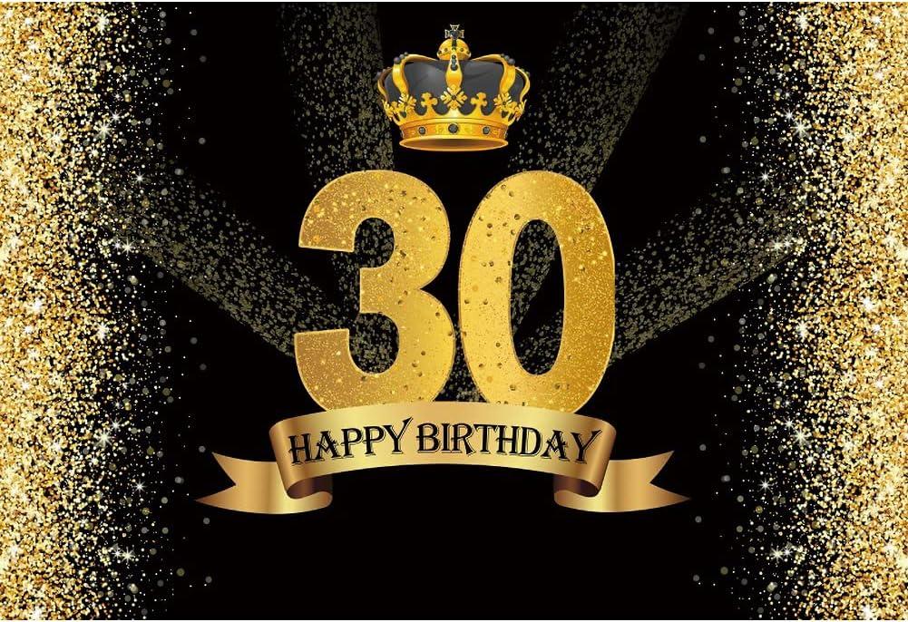 Leowefowa 1.5x1m Happy 30th Birthday Backdrop Max 89% OFF an Women depot Black for