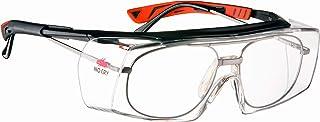 عینک ایمنی بدون لیزری NoCry - با لنزهای واضح ضد خش ضد خش ، اسلحه قابل تنظیم ، محافظ جانبی ، محافظت UV400 ، ANSI Z87 و OSHA دارای مجوز ، قاب های سیاه و قرمز