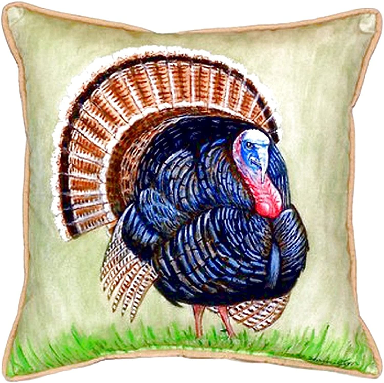 Betsy Drake SN512 Wild Turkey Small Indoor Outdoor Pillow,12  X12
