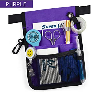 OZSTOCK® Nurse Pouch Extra Pocket Quick Pick Vet Agecare Bag with Belt Strap (Purple)