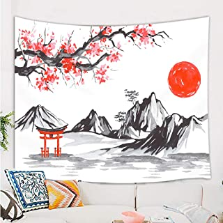 Japan Traditional Painting Tapestry, Fuji Mountain Sakura Sunset Asian Watercolor Ink Picture Wall Blanket, Tapestries Wall Hanging for Bedroom Living Room Dorm TV Backdrop 80X60 in