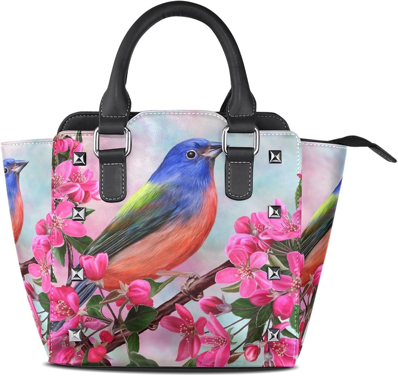 My Little Nest Women's Top Handle Satchel Handbag Bird Flowers Branch Ladies PU Leather Shoulder Bag Crossbody Bag