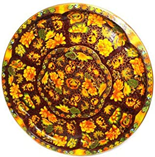 Daher Decorated Ware Tin Lithographed Round Decorative Floral Tray w/Autumn Floral Print