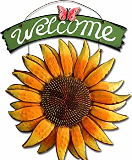 M2cbridge Vintage Iron Hanging Butterfly Sunflower Welcome Sign Sunflower Vista Door Hanging 15 inch Tall (Color A)