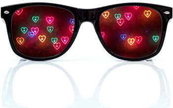 Heart Diffraction Glasses - See Hearts - for Raves, Music Festivals, Fireworks, Holiday Lights, and More