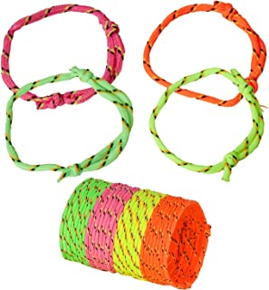 Kicko Neon Rope Friendship Bracelets - 12 Pack - for Kids, Party Favors, Stocking Stuffers, Classroom Prizes, Decorations, Birthday Supplies, Holidays, Pinata Fillers, Novelties and Rewards