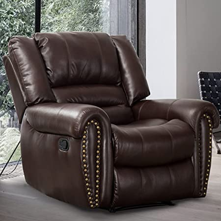 CANMOV Leather Recliner Chair, Classic and Traditional Manual Recliner Chair with Comfortable Arms and Back Single Sofa for Living Room, Durable Faux Leather, Brown