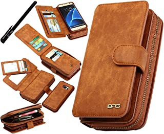 Urvoix Galaxy S7 Edge Case, Premium Leather Zipper Wallet Multi-Functional Handbag Detachable Removable Magnetic Case with Flip Card Holder Cover for Samsung Galaxy S7edge G935, Brown