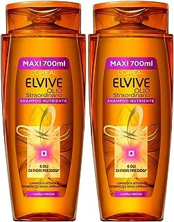 L'Oréal Paris Shampoo Nutriente Elvive Olio, Adatto per Capelli Secchi o Spenti, 700 ml, Confezione da 2