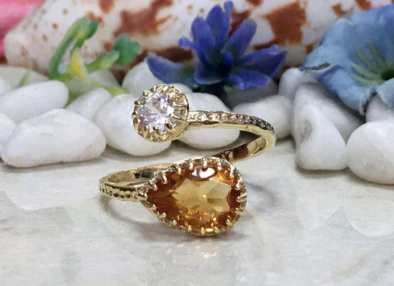 Citrine Ring - Dual Two Trust lowest price Novemb Gemstone Birthstone