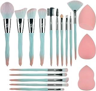 برس های آرایشی 15 برس لوازم آرایش با 3 عدد ابزار برس برس آرایش صورت نرم و مصنوعی آرایش صورت ، پودر ، سایه چشم ، ابرو ، خط چشم ، ترکیب (آبی)