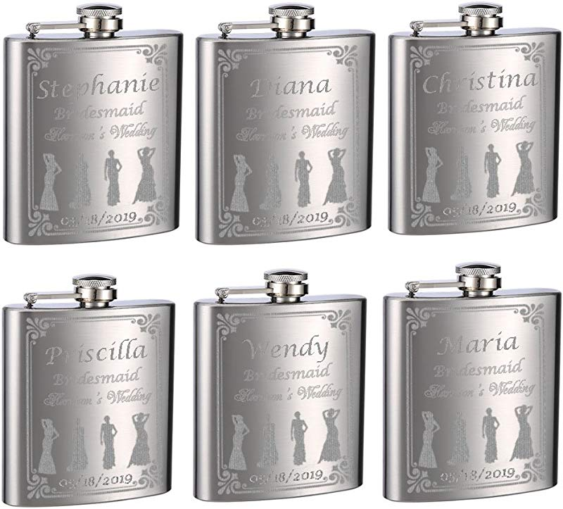 Wedding Flasks For Bridesmaids And Bride 6 Pack Of 6oz Flasks Personalized