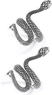 سوفيسي ثعبان خواتم للنساء الفضة ثعبان الشرير خمر خاتم للرجال قابل للتعديل الذهب الدائري