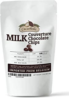 2 LB Cacaoholic - Milk Couverture Chocolate Chips   Low Fluidity   Resealable Stand Up Pouch