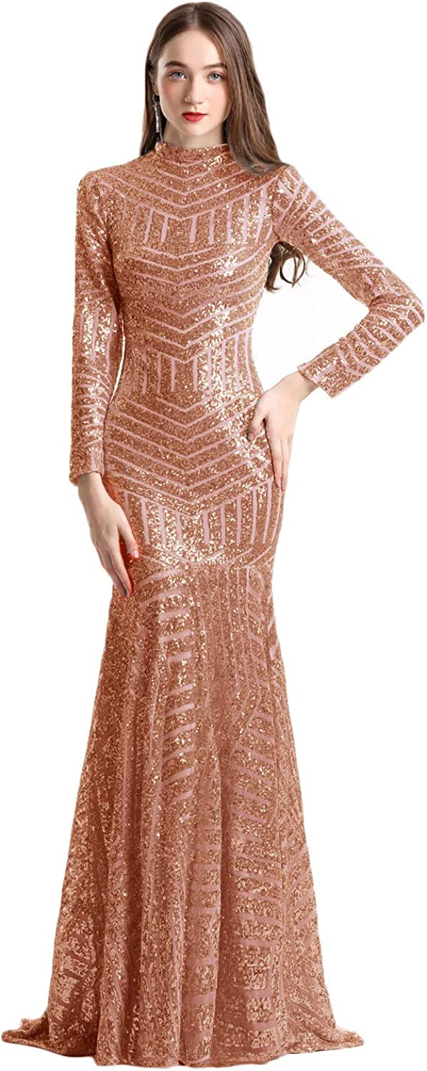 CIRCLEWLD Long Sleeves Mermaid Prom Dresses Sequined Pattern Evening Pageant Gown (Middle Slit) E70