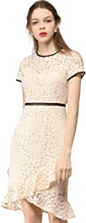 Allegra K Women's Elegant Short Sleeve Contrast Trim Ruffled Floral Lace Dress