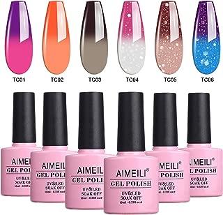 AIMEILI Temperature Color Changing Soak Off UV LED Chameleon Gel Nail Polish Set Of 6pcs X 10ml- Kit Set 13