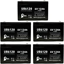 5 Pack Replacement for CSB/Prism GP6110 Battery - Replacement UB6120 Universal Sealed Lead Acid Battery (6V, 12Ah, 12000mAh, F1 Terminal, AGM, SLA) - Includes 10 F1 to F2 Terminal Adapters