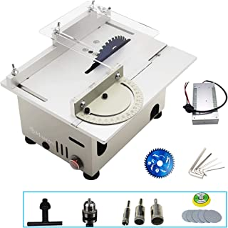 Huanyu Mini Table Saw Multifunctional Liftable Blade 6T with Miter Gauge 300W Power DIY Woodworking Handmade Tool 885 Motor Cutting Polishing Carving Punching Wood Metal (Fits Group 2, Sliver)