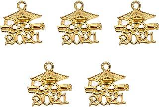 BinaryABC 2021 Graduation Cap Diploma Charms Pendant,Graduation Gift Party Favors,5Pcs(Golden)