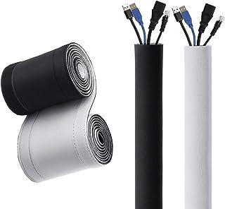 اغطية كابلات لحفظ وترتيب الكابلات، اغطية قابلة للعكس باللون الابيض والاسود لكابلات التلفزيون والكمبيوتر والطاولة