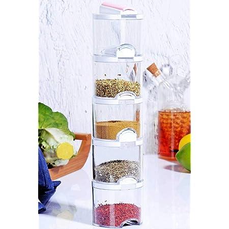 Acrilic Spice Shaker Jars Seasoning Box - Spice Storage Containers - Kitchen & Pantry Organization - Boxed - Set of 5…