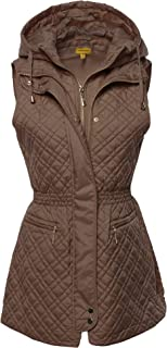 Made by Emma Women's Slim Fit Hooded Long Length Solid Quilted Vest