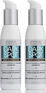 Advanced Clinicals Dark Spot Cream Corrector with Shea Butter and Hyaluronic Acid. Anti-Aging cream targets Dark Spots, Age Spots and uneven skin tone. Large 4oz bottle with pump. (Two - 4oz)