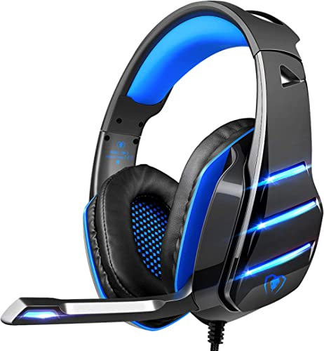 PS4 Gaming Headset with Mic, Beexcellent Newest Deep Bass Stereo Sound Over Ear Headphone with Noise Isolation LED Li...