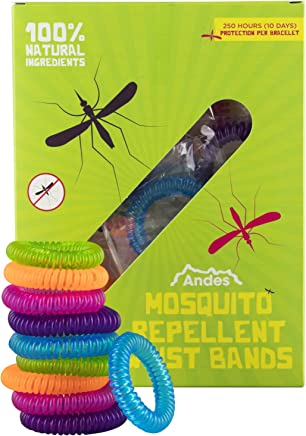 10 x Andes Mosquito & Insect Repellent Wrist Band Bracelets Natural & Deet Free