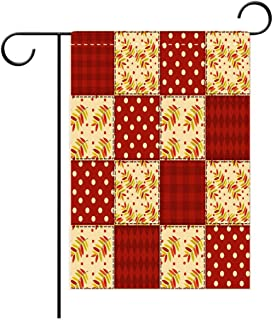 Georgia Yules Garden Flag Outdoor Flag House Flag Banner Cabin Decor Patchwork Autumn Pattern with Sycamore Leaves Polka Dots Old Fashioned Print Decora Decorated for Outdoor Holiday gardens12x18in