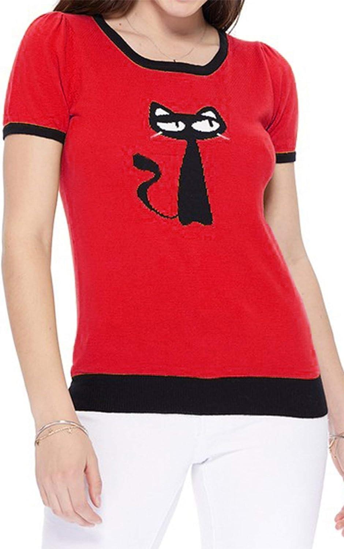 50s Shirts & Tops YEMAK Womens Short Sleeve Crewneck Casual T-Shirt Pullover Sweater $22.95 AT vintagedancer.com