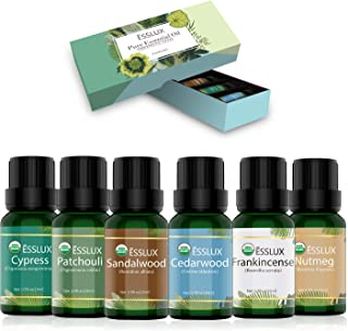 Woodsy Essential Oils Set, ESSLUX 100% Natural Aromatherapy Essential Oils Gift Set for Diffuser, Cedarwood, Patchouli, Sandalwood, Frankincense, Cypress, Nutmeg Oil, 6x10ml