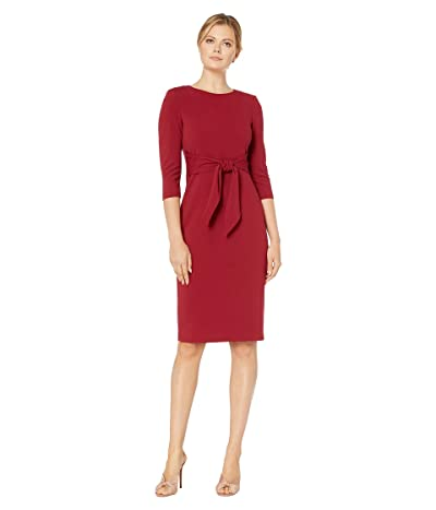 Adrianna Papell Knit Crepe Tie Waist Sheath Dress (Red Samba) Women