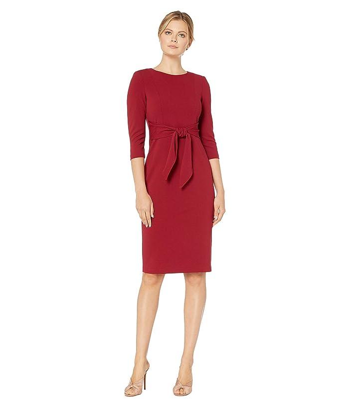 Adrianna Papell  Knit Crepe Tie Waist Sheath Dress (Red Samba) Womens Dress
