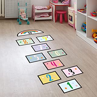 10 Number DIY Hopscotch Game Wall Stickers Floor Decals, Removable PVC Cute Digital Wall Stickers
