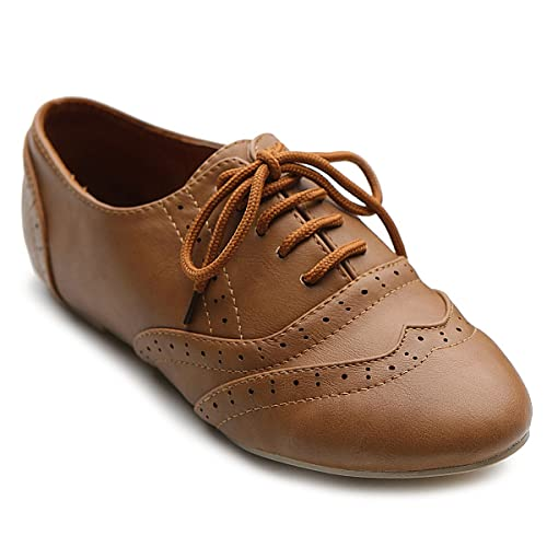 0e29d0eb25 Ollio Women's Shoe Classic Lace Up Dress Low Flat Heel Oxford
