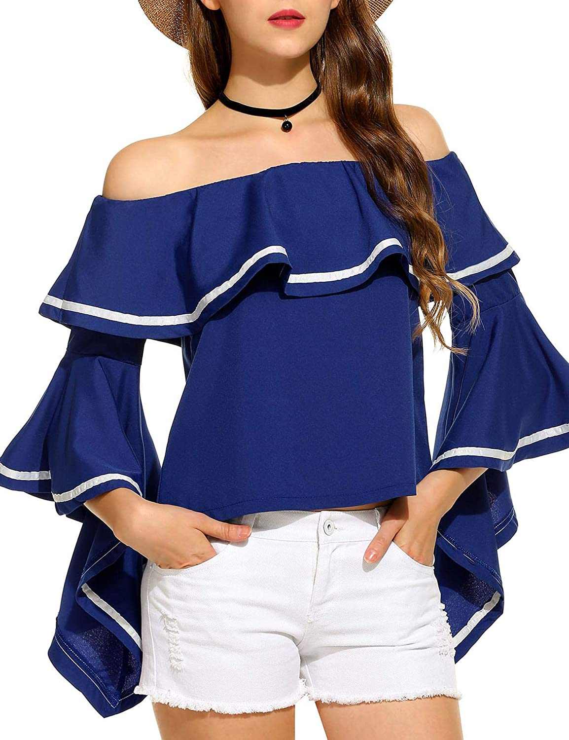 Zeagoo Off The Shoulder Tops Women Bell Sleeve Floral Print Casual Ruffled Sleeve Blouse