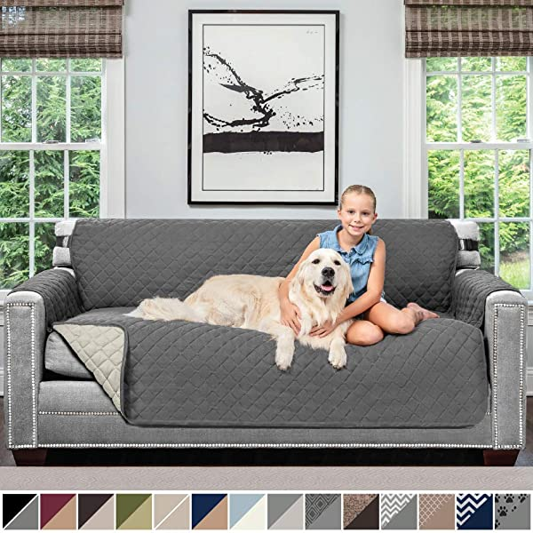 Sofa Shield Original Patent Pending Reversible Sofa Slipcover 2 Inch Strap Hook Seat Width Up To 70 Inch Furniture Protector Couch Slip Cover Throw For Pets Kids Cats Sofa Charcoal Linen